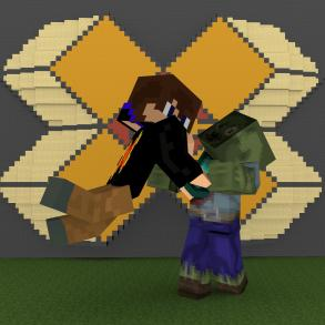 Avatar. A Minecraft character is attacking a Minecraft zombie with a sword.