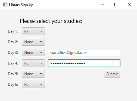 LibrarySignUp application. Title: 'Please select your studies:'. On the left, there are 6 rows for each day; to their immediate right, there is a dropdown list for periods R1-R7, or 'None'. On the right, the user nputs their email and password, with a submit button just below.